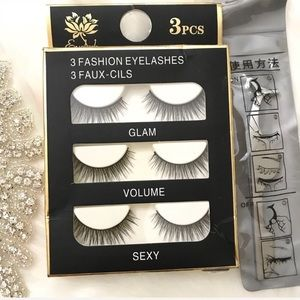 Other - 3 PAIRS False Eyelashes with Applicator